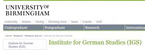 Institute for German Studies & Graduate Centre for Europe - University of Birmingham